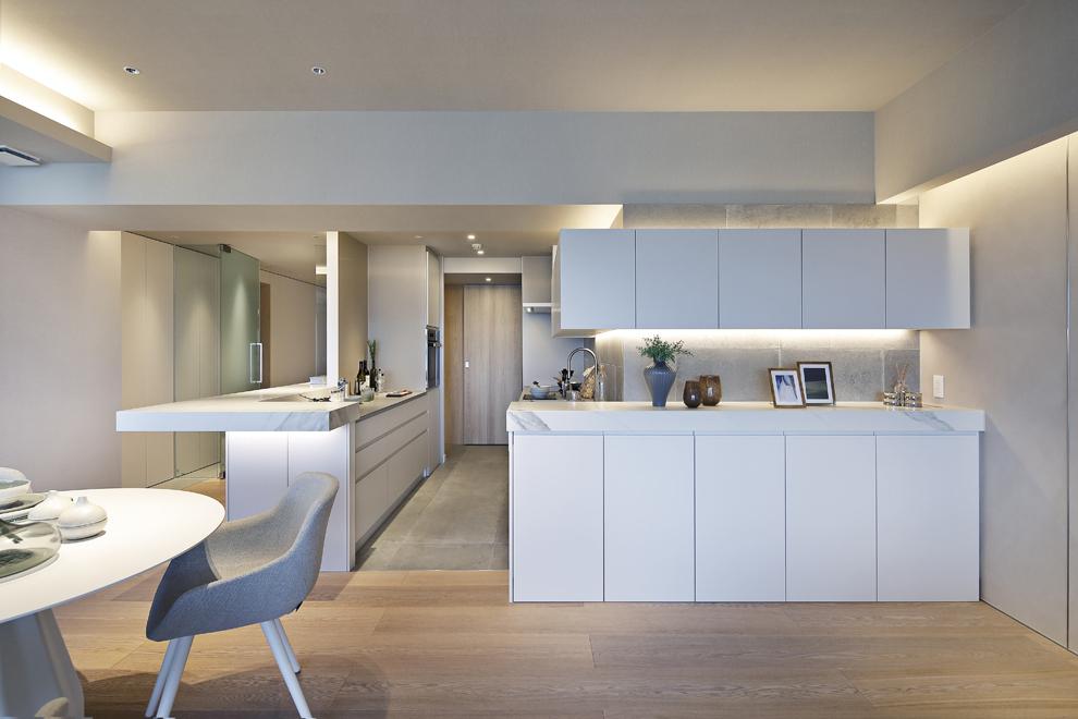 キッチンのシンクは手前のカウンター収納で手元が隠れる設計になっている 奥にはパントリーの木の扉