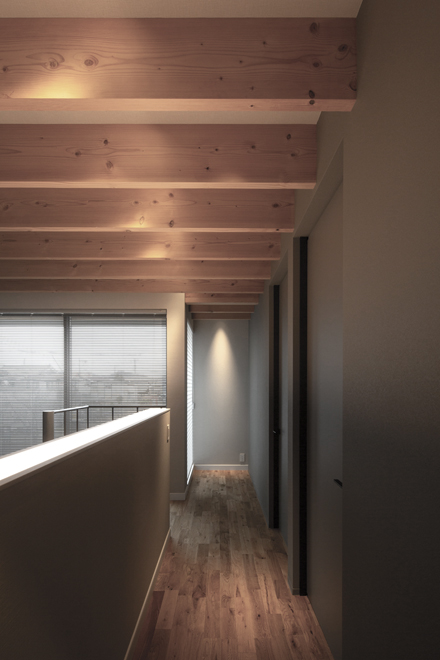 2階の廊下より 手すり部分に間接照明が組み込まれている