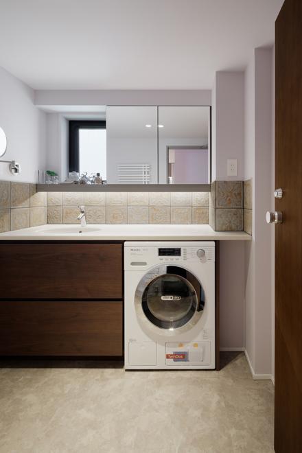 洗面台 ビルトイン洗濯機を設置